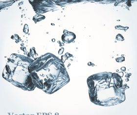 3 Ice cubes falling from water background Vector
