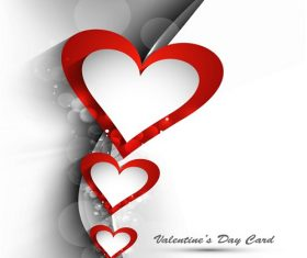 3  Red Hearts with White heart Valentine Card Background Vector