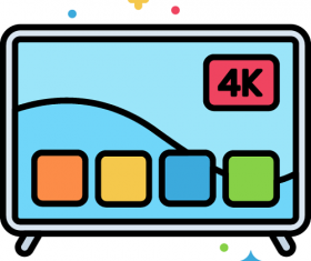 4K-TV Icon Vector