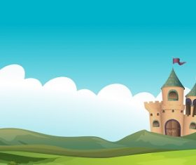 A Castle and the Land Cartoon Background Vector