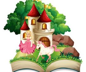 A Princess and Unicorn Outside Castle book Cartoon Background Vector