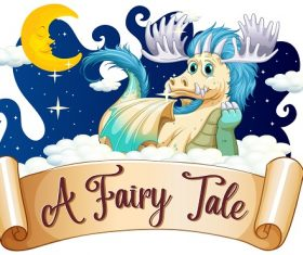 A fairy tale dragon clouds moon Vector