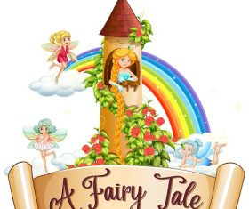 A fairy tale Rapunzel fairy clouds castle rainbow Vector