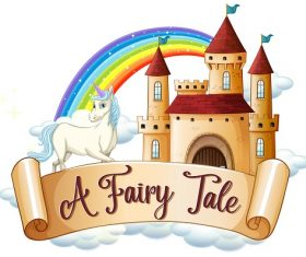 A fairy tale unicorn cloud castle rainbow Vector