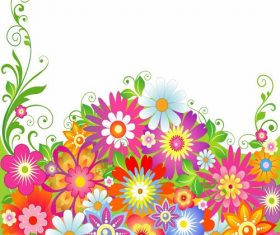 Abstract Colorful Flowers Illustration Vector
