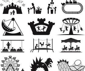 Amusement Park icons Children Vector