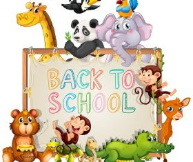 Back to School bold Logo with Animals Vector