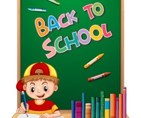 Back to school with Kid, blackboard, books Vector
