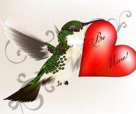 Be Mine Humming bird heart background vector