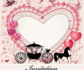 Beautiful Carriage with Heart Background Vector
