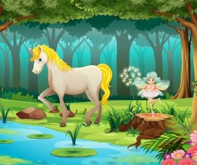 Beautiful horse with cute fairy on the river cartoon background vector.jpg