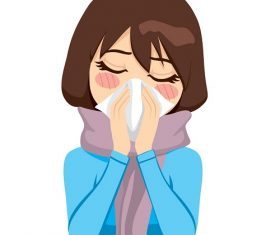 Beautiful woman wearing a warm scarf suffering influenza and runny nose blowing her nose with a handkerchief Icon Vector