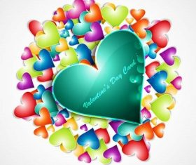Big Green heart and Small other Colorful Heart Background Vector