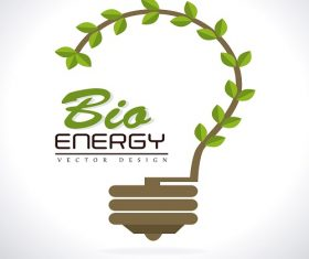 Bio Energy Label with Plant Shape like Bulb Background Vector
