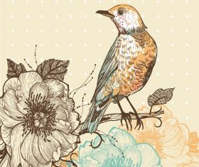 Bird looking on the flowers background vector