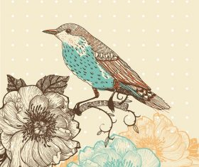 Bird standing on the tree with flowers background vector