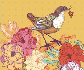 Bird with fruit standing in branch flower yellow background vector