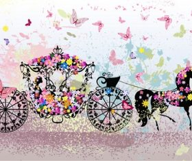 Black horse with flower Carriage Background Vector