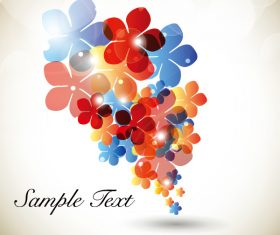 Blue red orange flower background vector