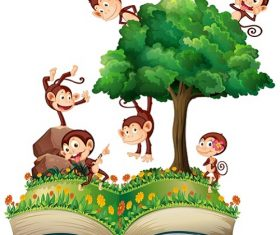 Book with Monkeys Climbing and Playing on the Tree Cartoon Background Vector