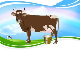 Brown Cow Eating Grass with Milk On Can Background Vector