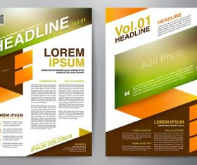 Brown Orange Green Gradient banner brochure template vector