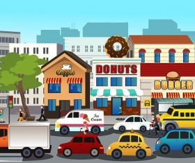 Busy City Shop Cars Cartoon Background Vector