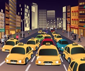 Busy City in the Evening Cartoon Background Vector