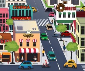 Busy City in the Morning Cartoon Background Vector