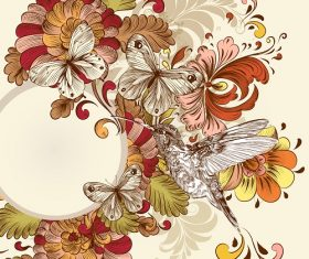 Butterfly humming bird floral background Vector