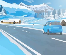 Car On the road with snow mountain blue background Vector