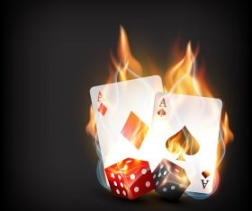 Cards dice with flame dark background Vector
