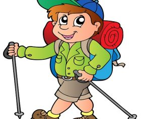 Cartoon Boy Hiker Vector
