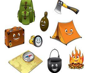 Cartoon Camping Equipment Vector