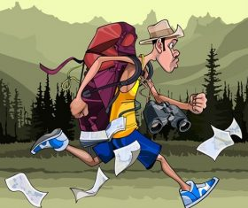 Cartoon Man Tourist with a Backpack, Binoculars and Maps, Fast runs Vector