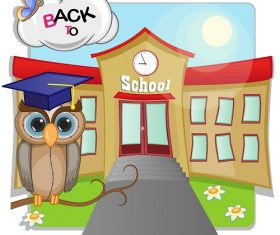 Cartoon Owl is Sitting in the Background of the School Background Vector