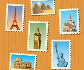 Christmas stamps travel all Vector