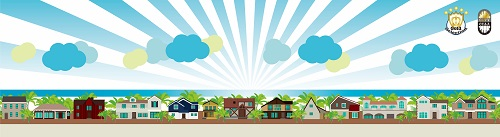 City Near Beach City Scape Cartoon Background Vector