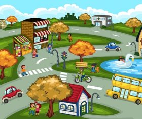 City Scene Cartoon Background Vector