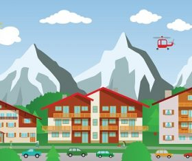 City with Mountain View Building Cartoon Background Vector