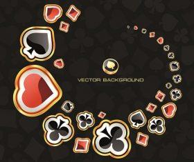 Clover Diamond Heart Gold black background floating vector