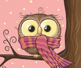 Cold Owl with Scarf Sitting on the  Branch Cartoon Background Vector