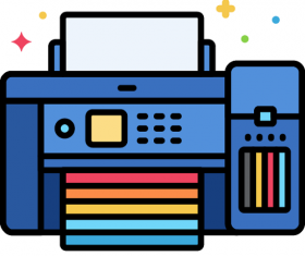 Color Printer Icon Vector