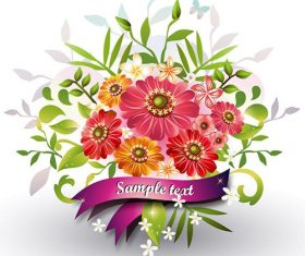 Colorful Flowers with Ribbon Vector