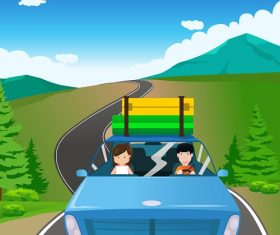 Couple Riding a Blue Car Going on a Road Trip Cartoon Background Vector