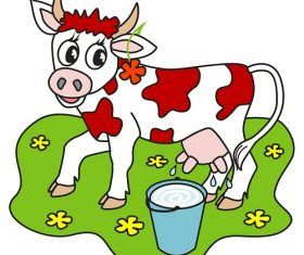 Cow with Flowers and Milk in Can Cute Cartoon Background Vector