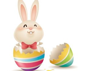 Cracked Egg with Cute Easter Bunny Cartoon Background Vector