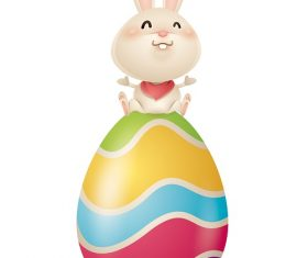 Cute Easter Bunny with Colorful Egg Cartoon Background Vector
