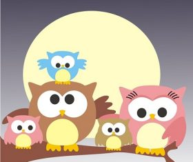 Cute Family Owl Sitting on a branch Under the Moon Cartoon Background Vector