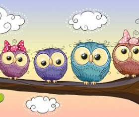 Cute Five Baby Owl Sitting on the Tree Cartoon Background Vector